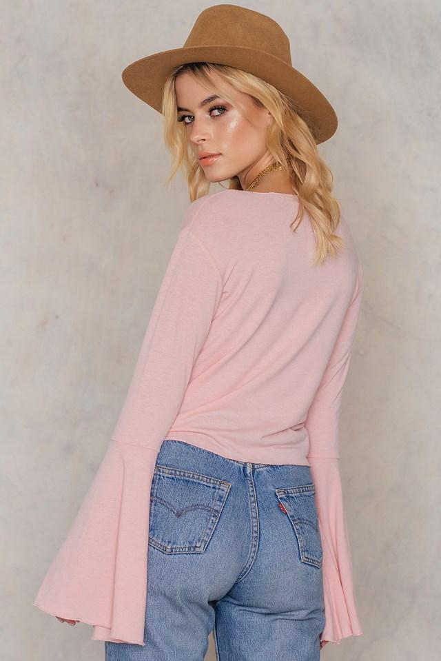 Round Neck Wide Sleeve Top Pink
