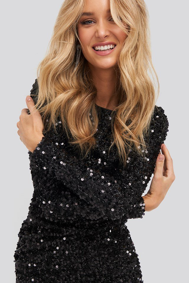 Round Sequin Dress Black