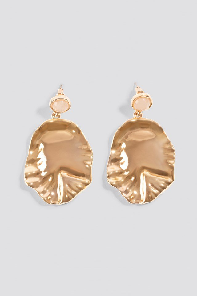 Round Structured Leaf Earring NA-KD.COM