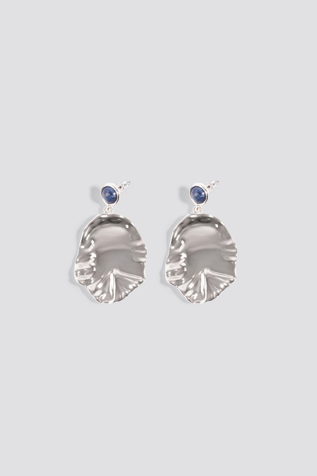 Round Structured Leaf Earring Silver/Blue