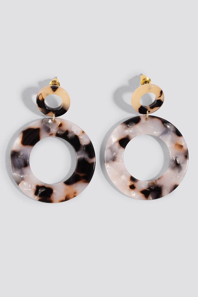 Round Tortoise Earrings Black/White