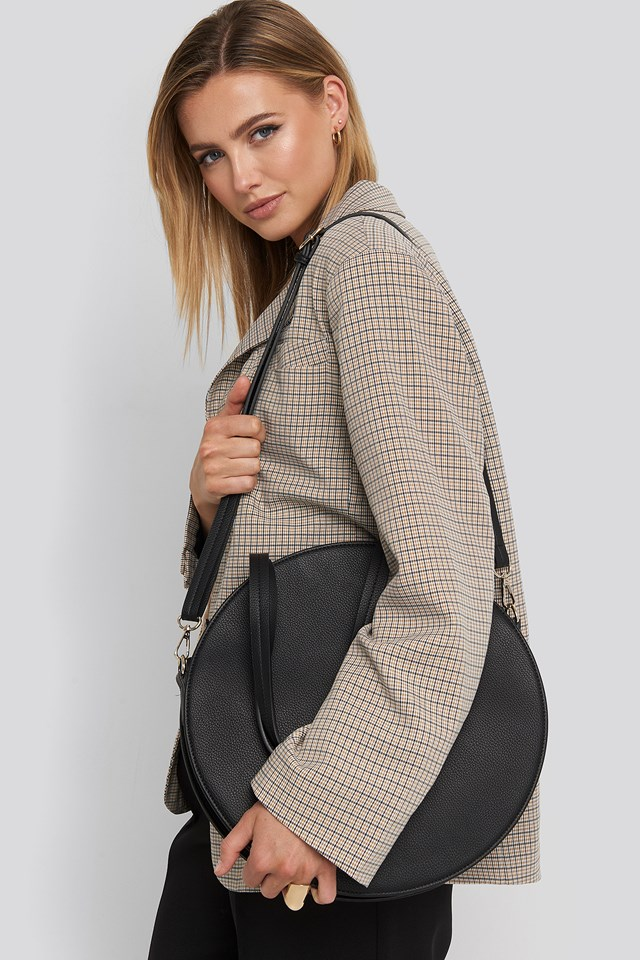 Round Tote Bag Black
