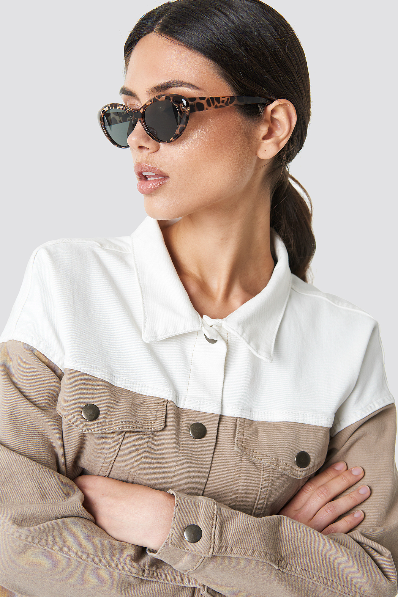 ROUNDED CATEYE SUNGLASSES - BROWN
