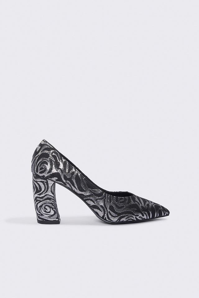 Rounded Heel Pumps Silver/Black