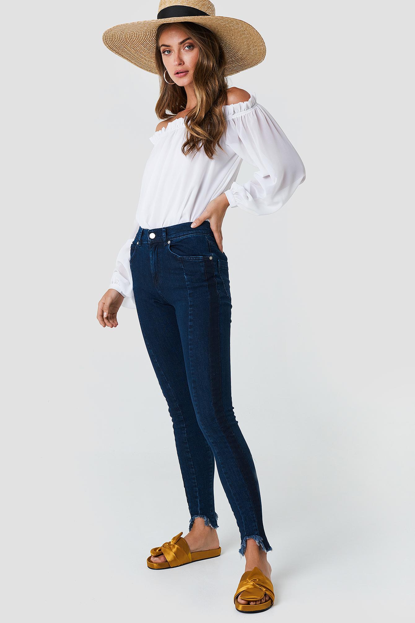 Rounded Hem Panel Jeans NA-KD.COM
