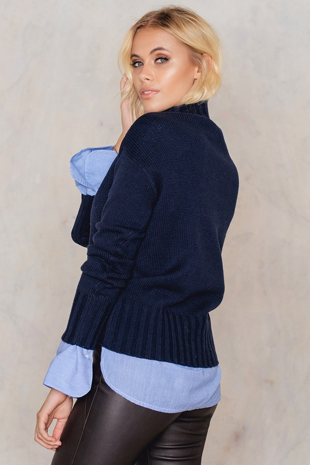 Rounded Knitted Sweater Navy