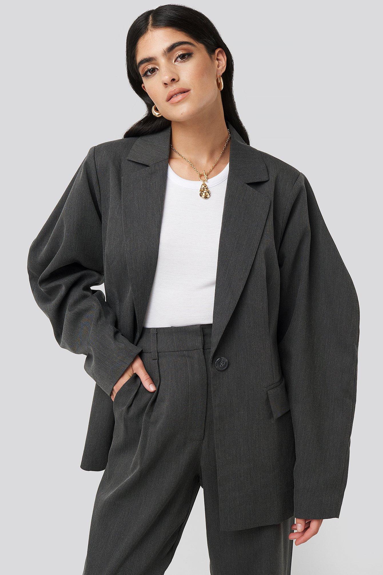 na-kd classic -  Rounded Shoulder Blazer - Grey