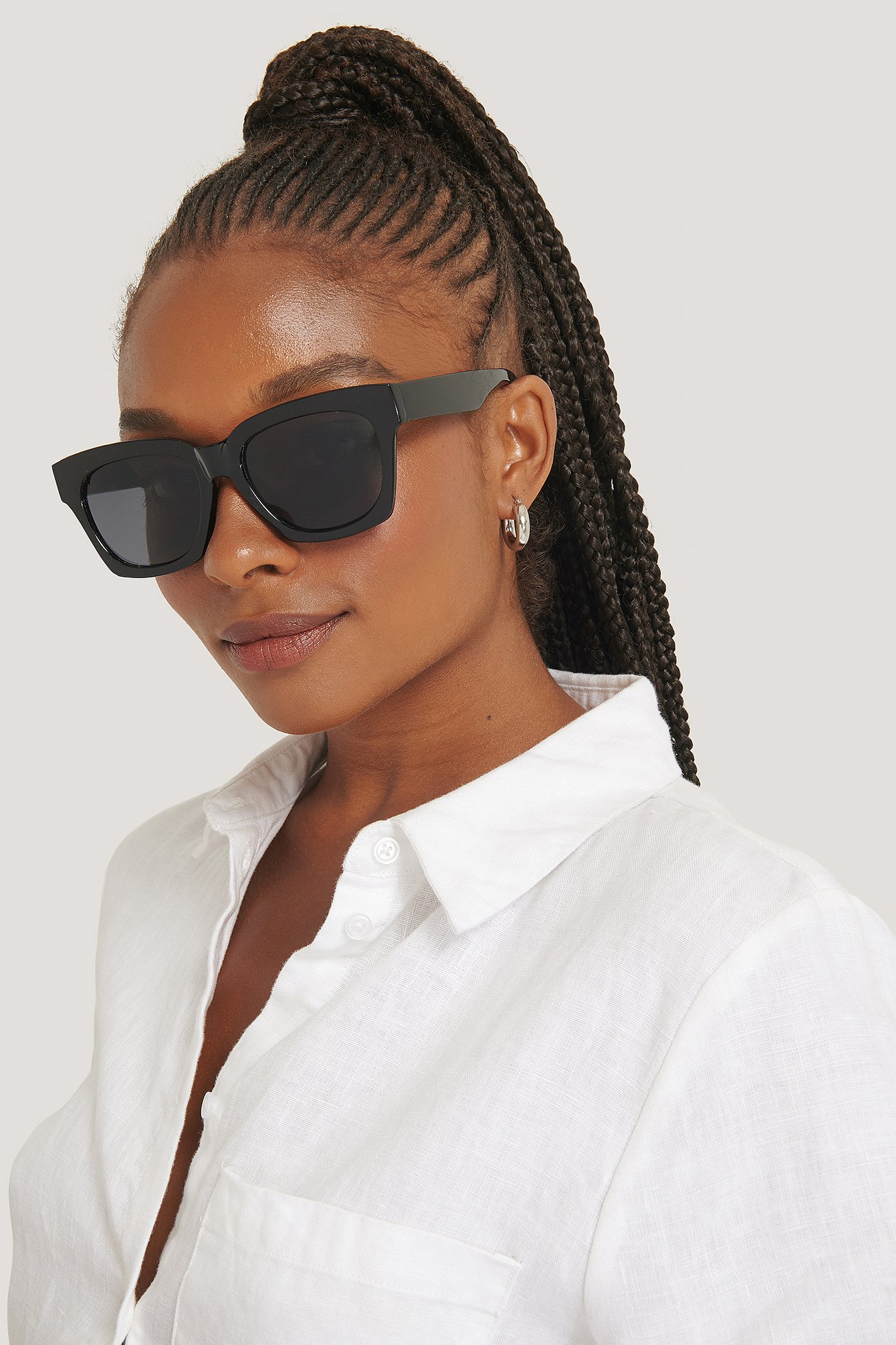 na-kd accessories -  Rounded Squared Sunglasses - Black