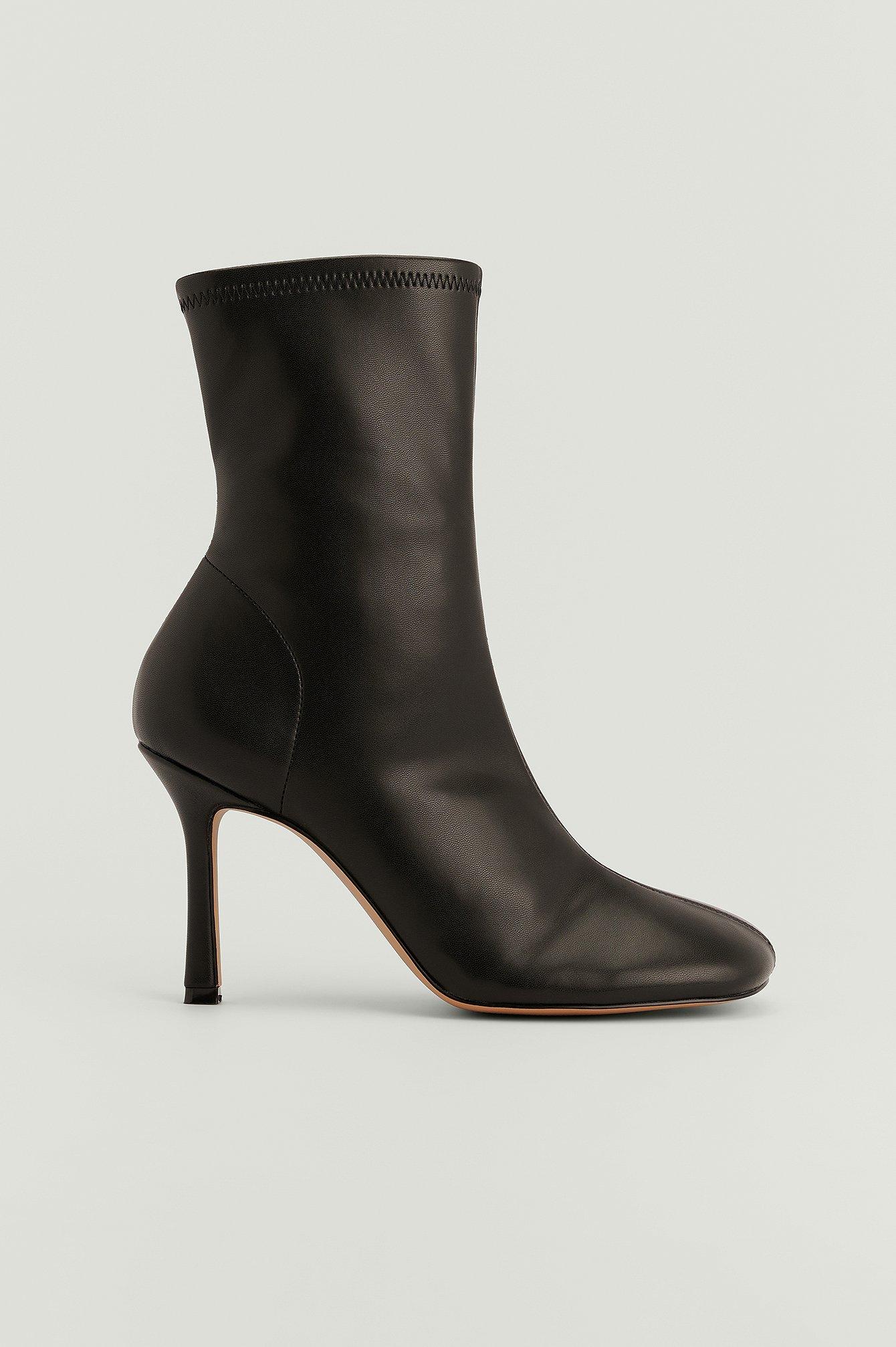 NA-KD Shoes Genanvendte ankelstøvler med rundet tå - Black