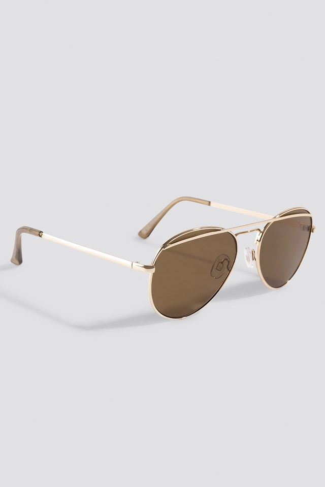 Rounded Top Bar Sunglasses Gold