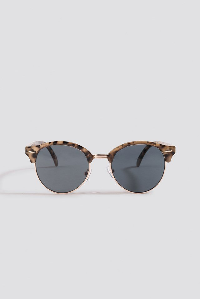 Rounded Top Frame Sunglasses Nude Tortoise