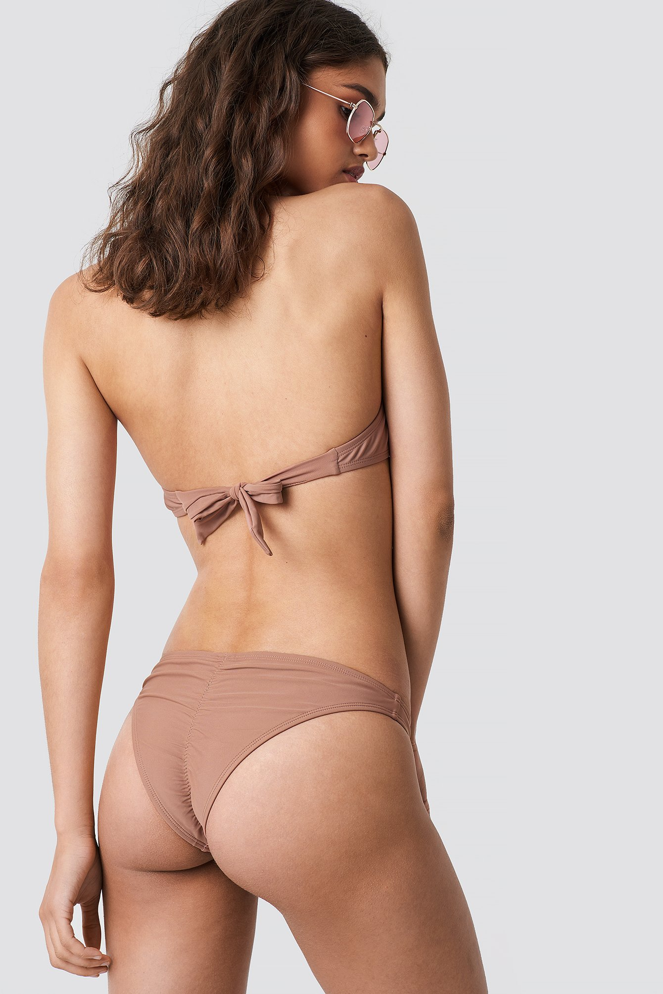 NA-KD Swimwear Ruched Back Bikini Panty - Pink