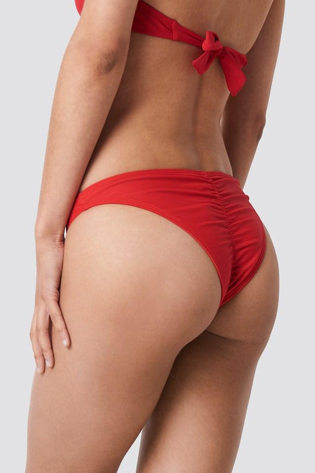 Ruched Back Bikini Panty Red