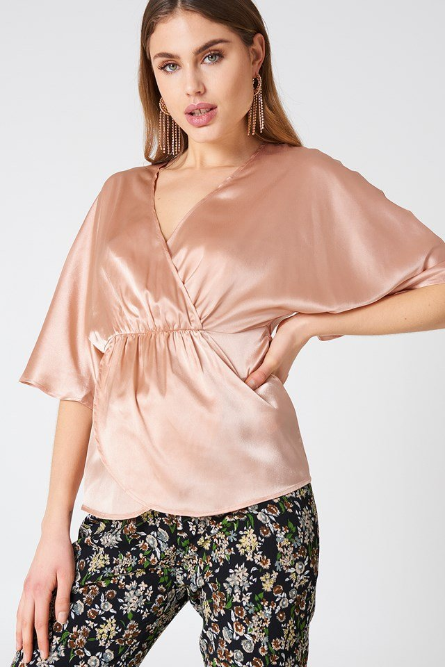 Ruched Detail Kimono Top Pink champagne