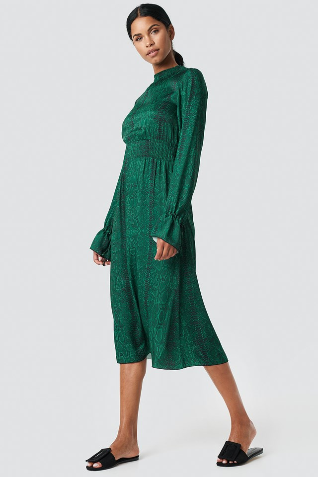 Ruched Detail Midi Dress Green/Snake Print