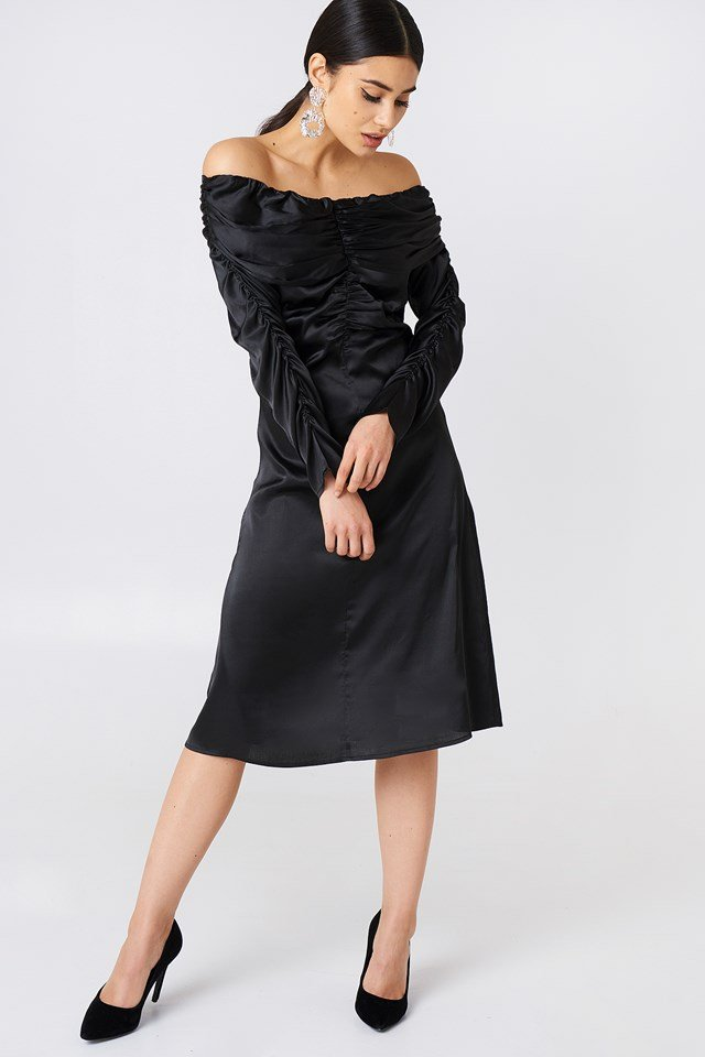 Ruched Detail Off Shoulder Dress Black