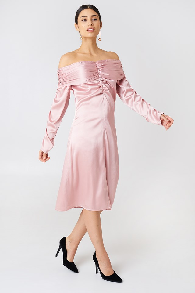 Ruched Detail Off Shoulder Dress Light Pink
