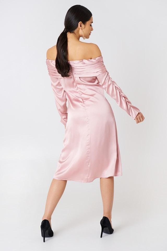 Ruched Detail Off Shoulder Dress Light Pink