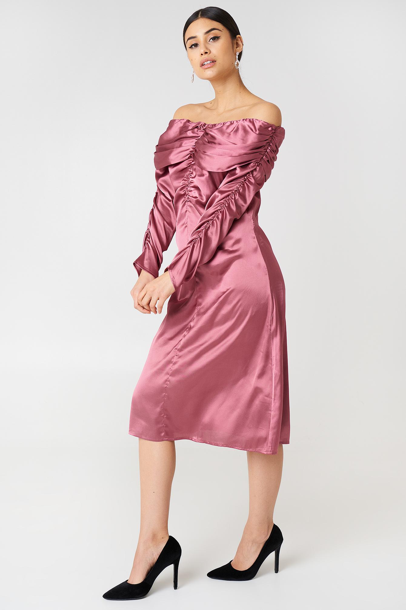 Off the Shoulder Satin Dress Silver