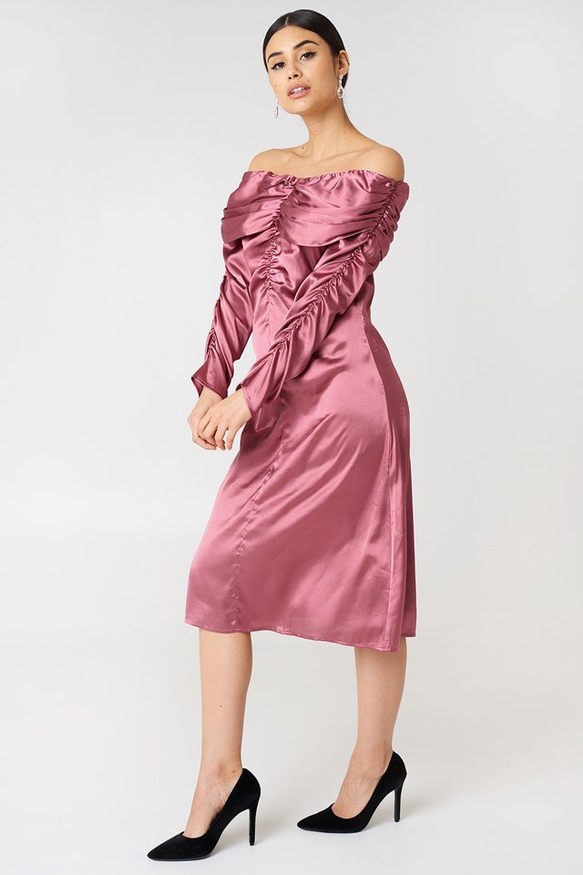 Ruched Detail Off Shoulder Dress Dusty Rose