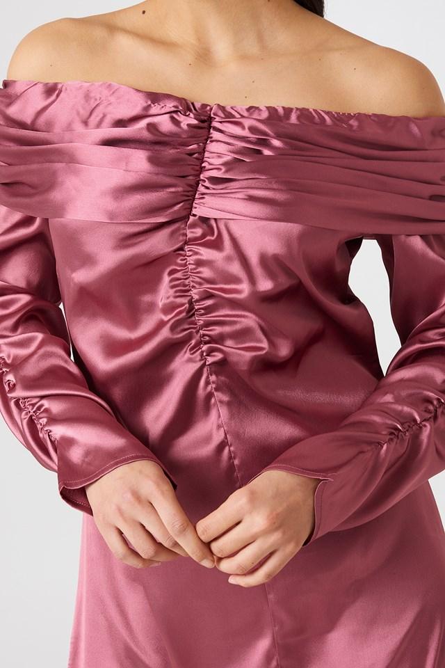 Ruched Detail Off Shoulder Dress Dusty Rose