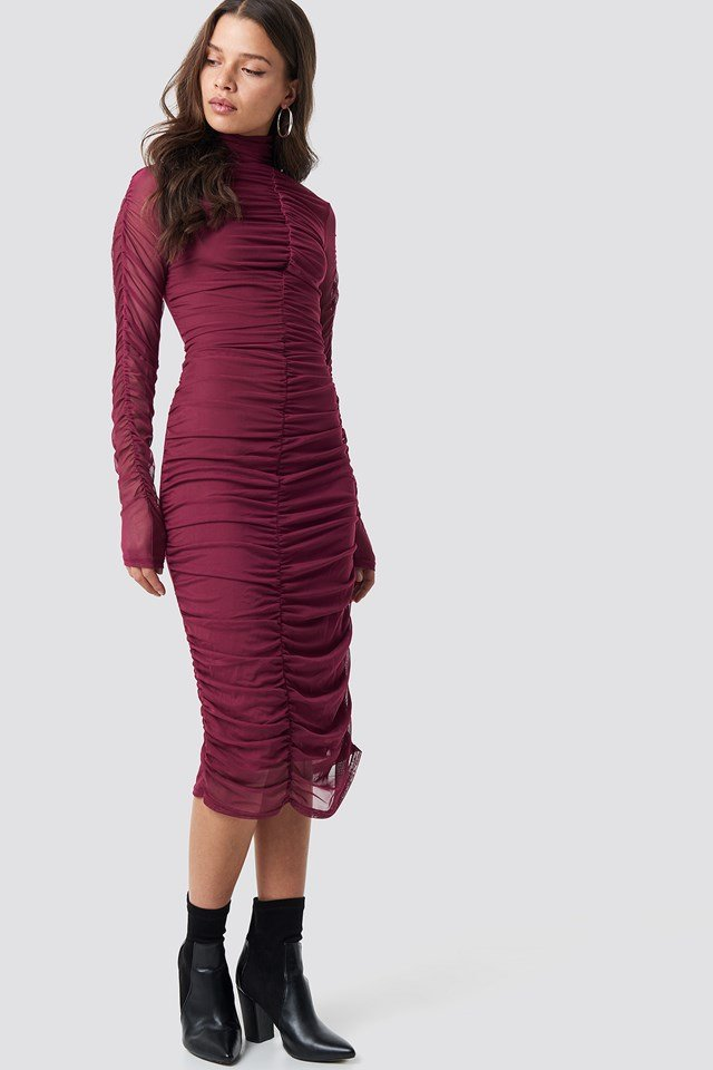 Ruched Mesh Dress Burgundy