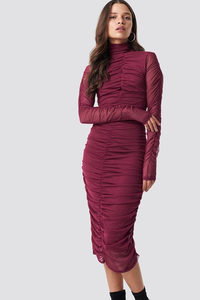 Ruched Mesh Dress Burgundy
