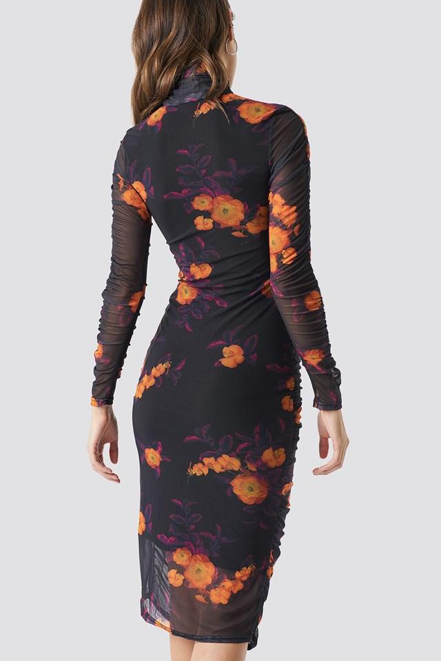 Ruched Mesh Dress Orange/Purple Print