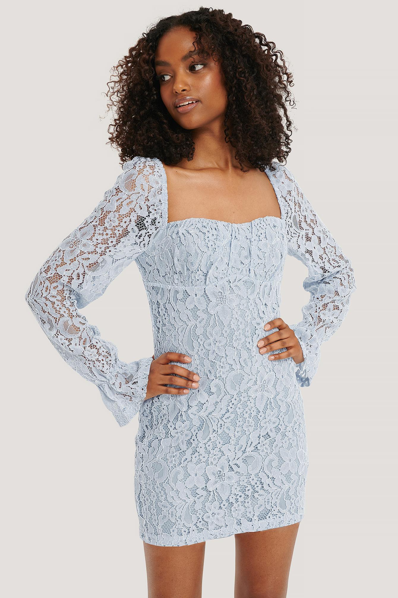 NA-KD Trend Ruched Mini Lace Dress - Blue