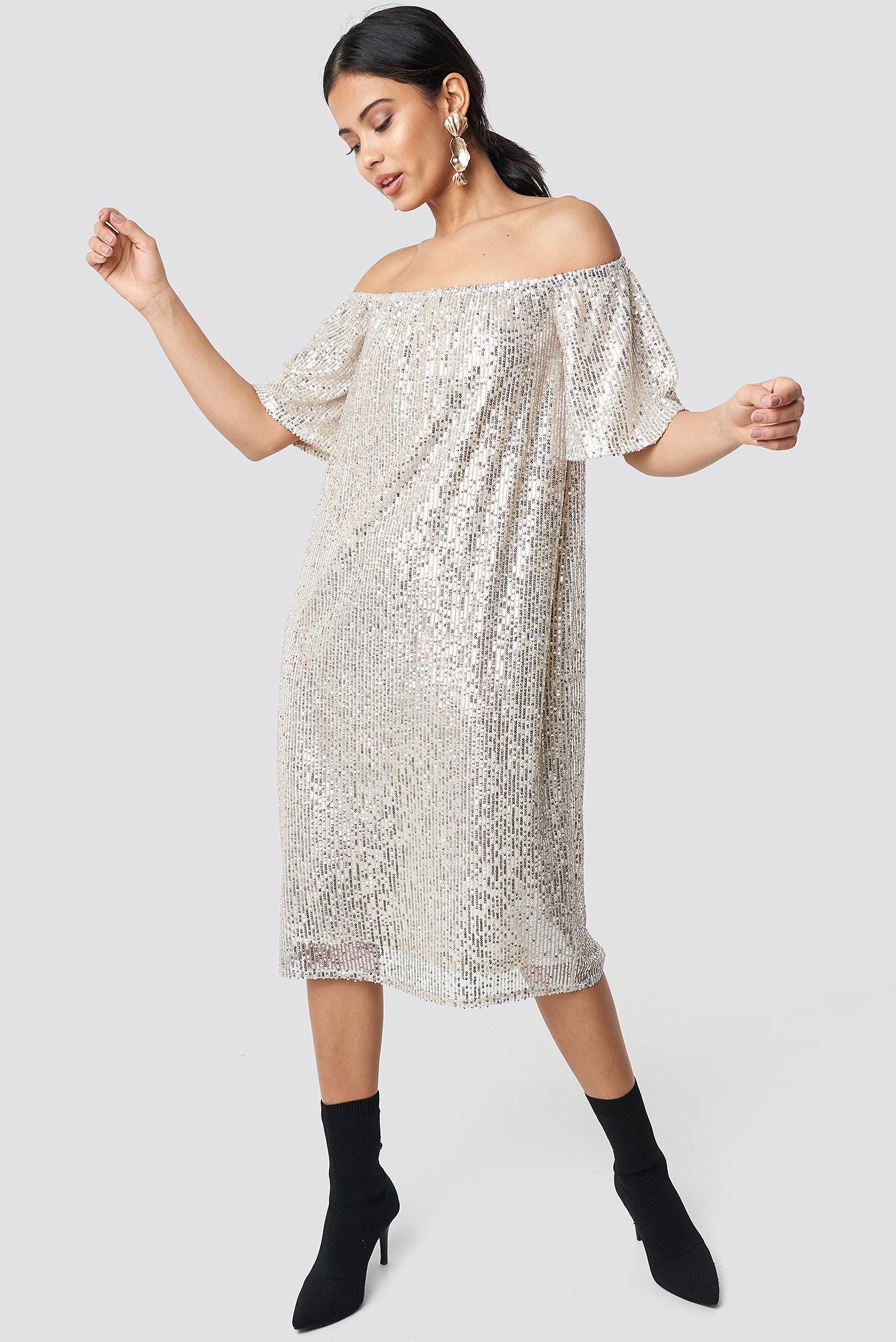 Ruched Off Shoulder Sequins Dress NA-KD.COM