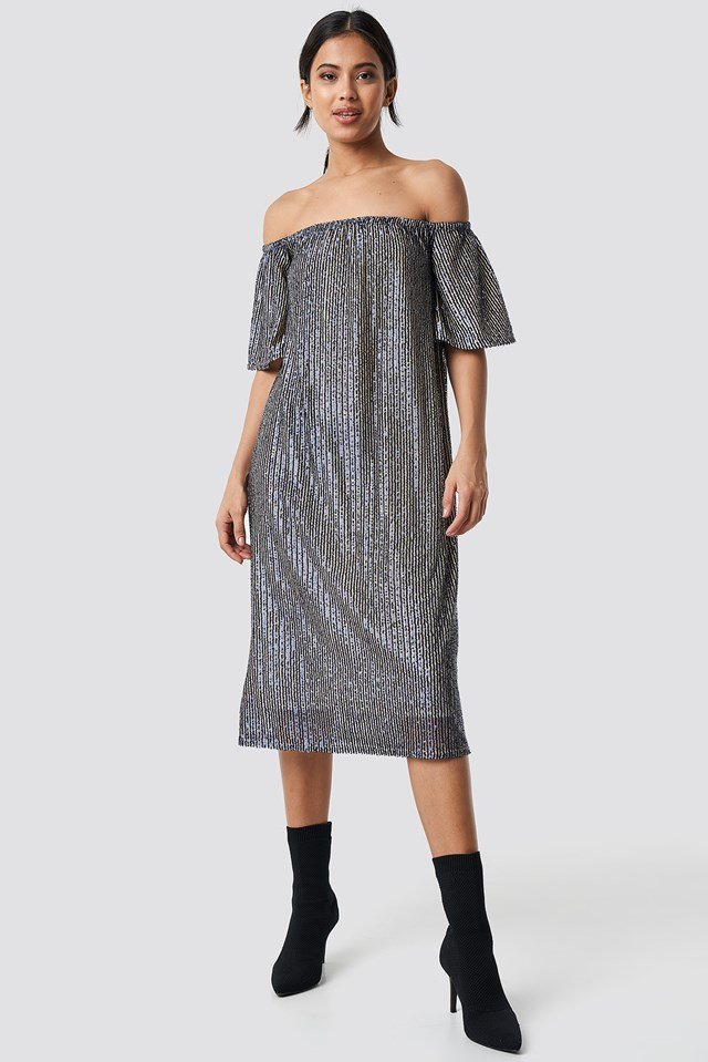 Ruched Off Shoulder Sequins Dress Dark Blue