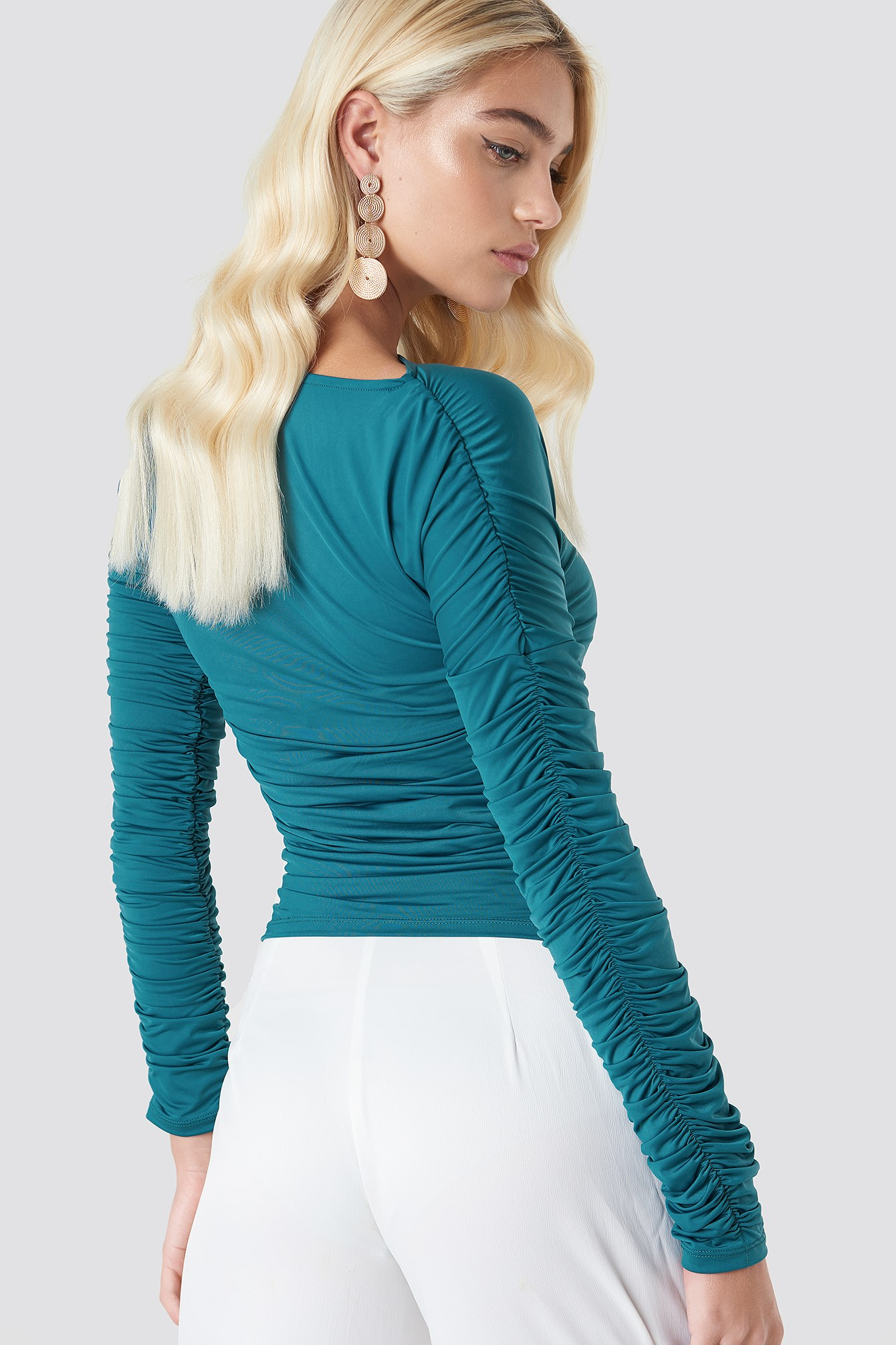 Ruched Sleeve LS Top NA-KD.COM