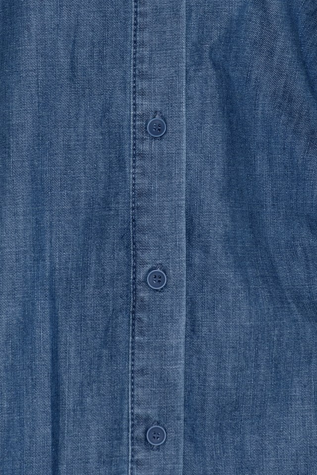 Ruffle Collar Denim Shirt Mid Blue
