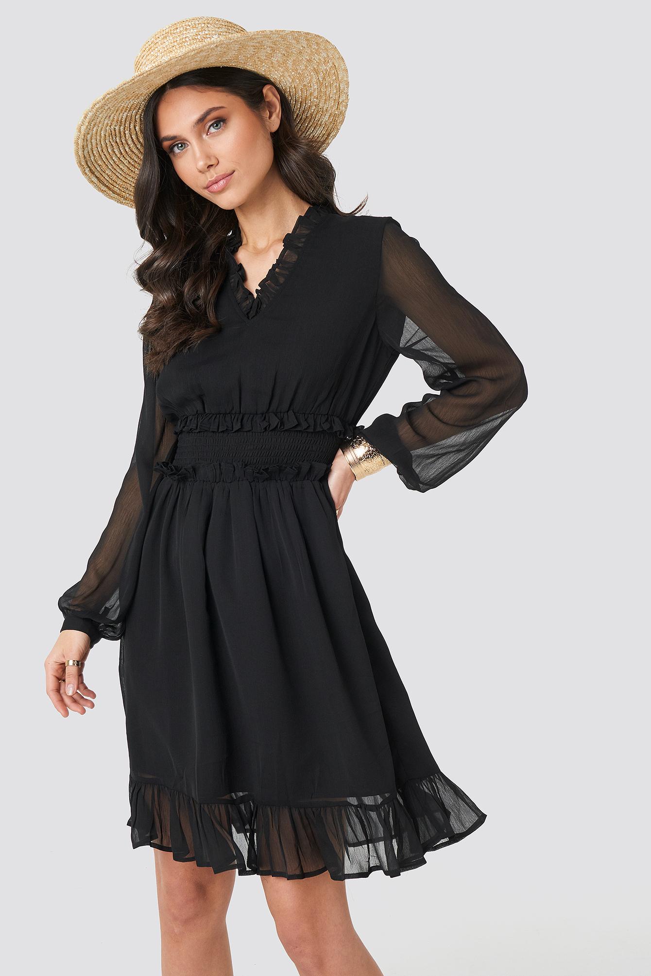 Ruffle Details Flowy Mini Dress NA-KD.COM