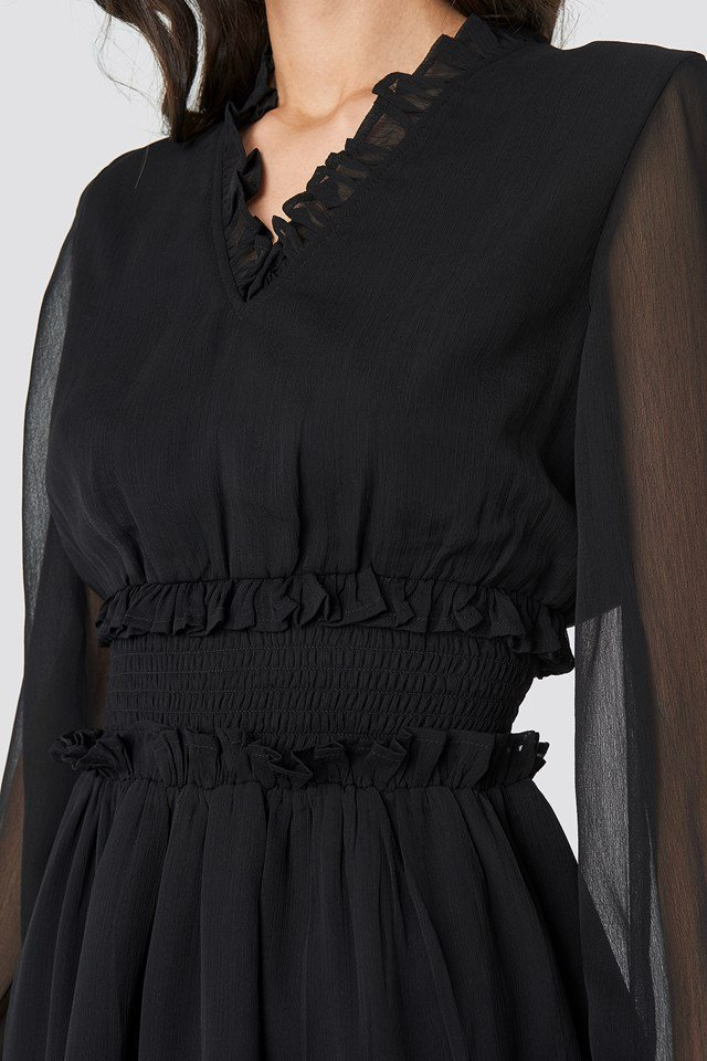 Ruffle Details Flowy Mini Dress Black