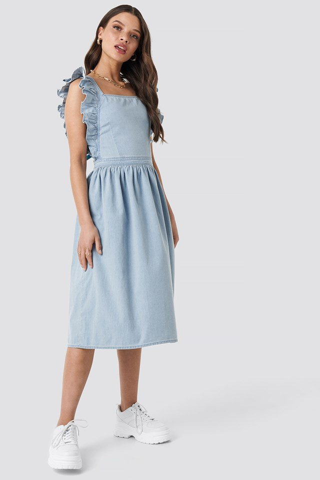 Ruffle Denim Pinafore Dress Mid Blue