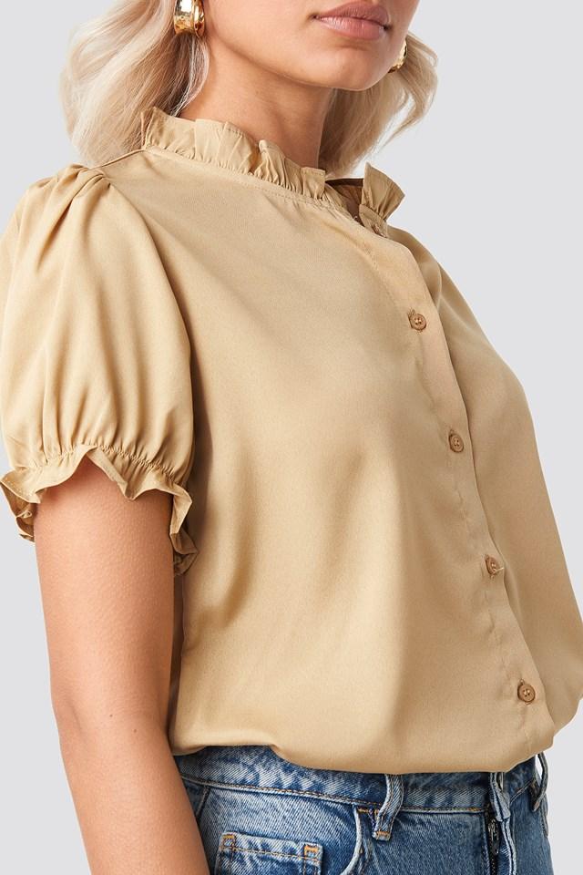 Ruffle Detail Button Blouse Beige