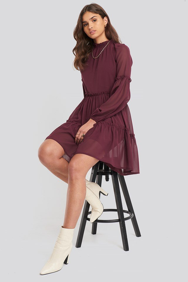 Ruffle Detail Chiffon Dress Burgundy