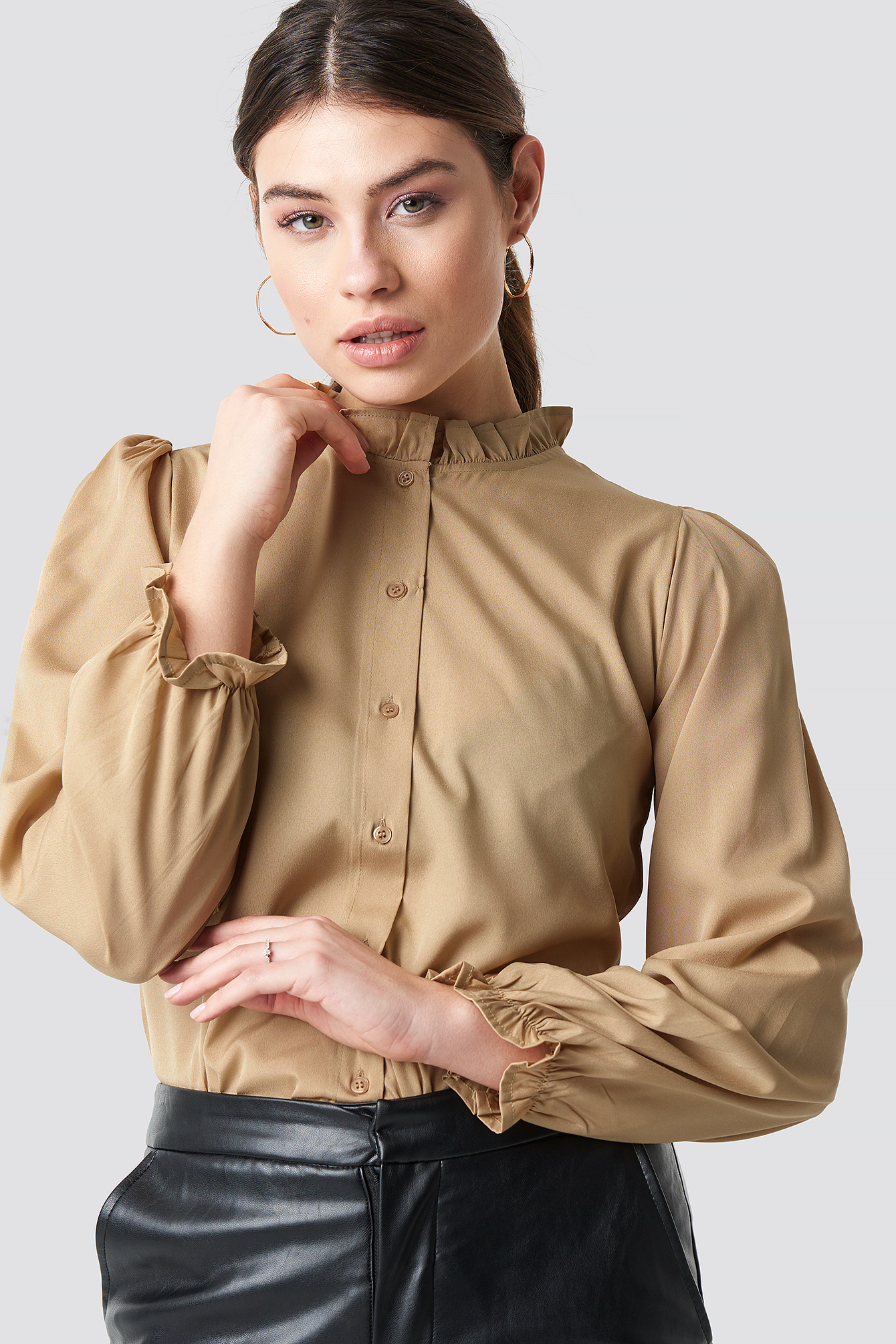 Ruffle Detail LS Button Blouse NA-KD.COM