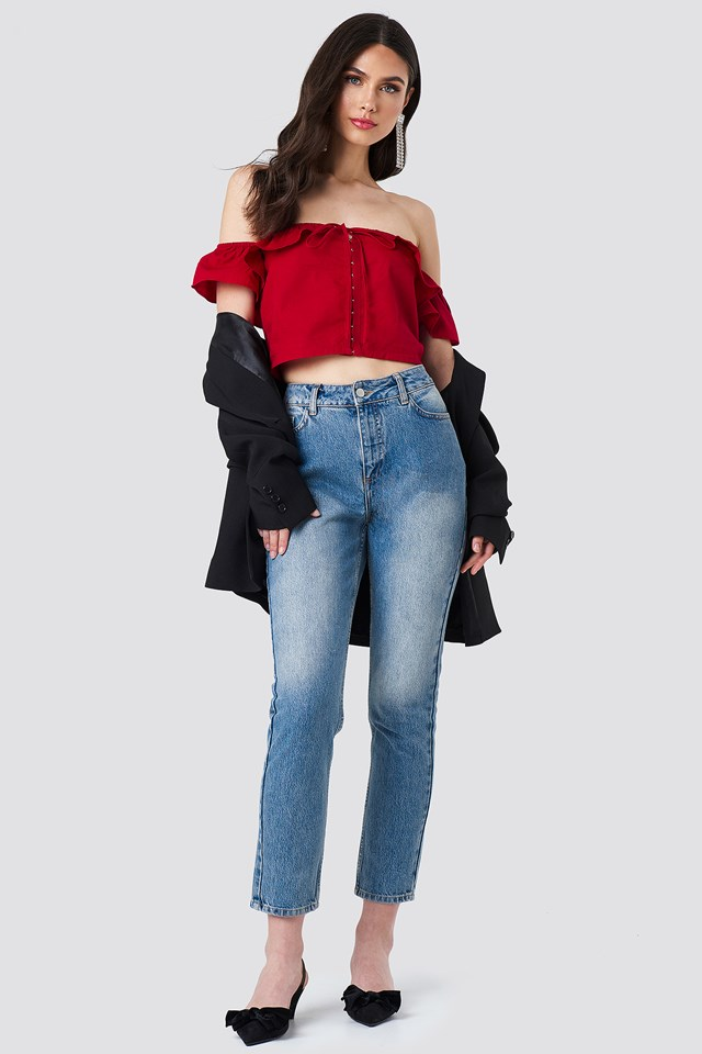 Ruffle Detail Off Shoulder Crop Top Red
