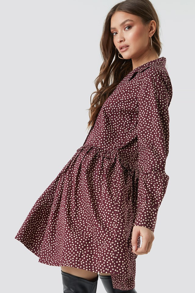 Oversize Ruffle Detail Shirt Dress Dot Print