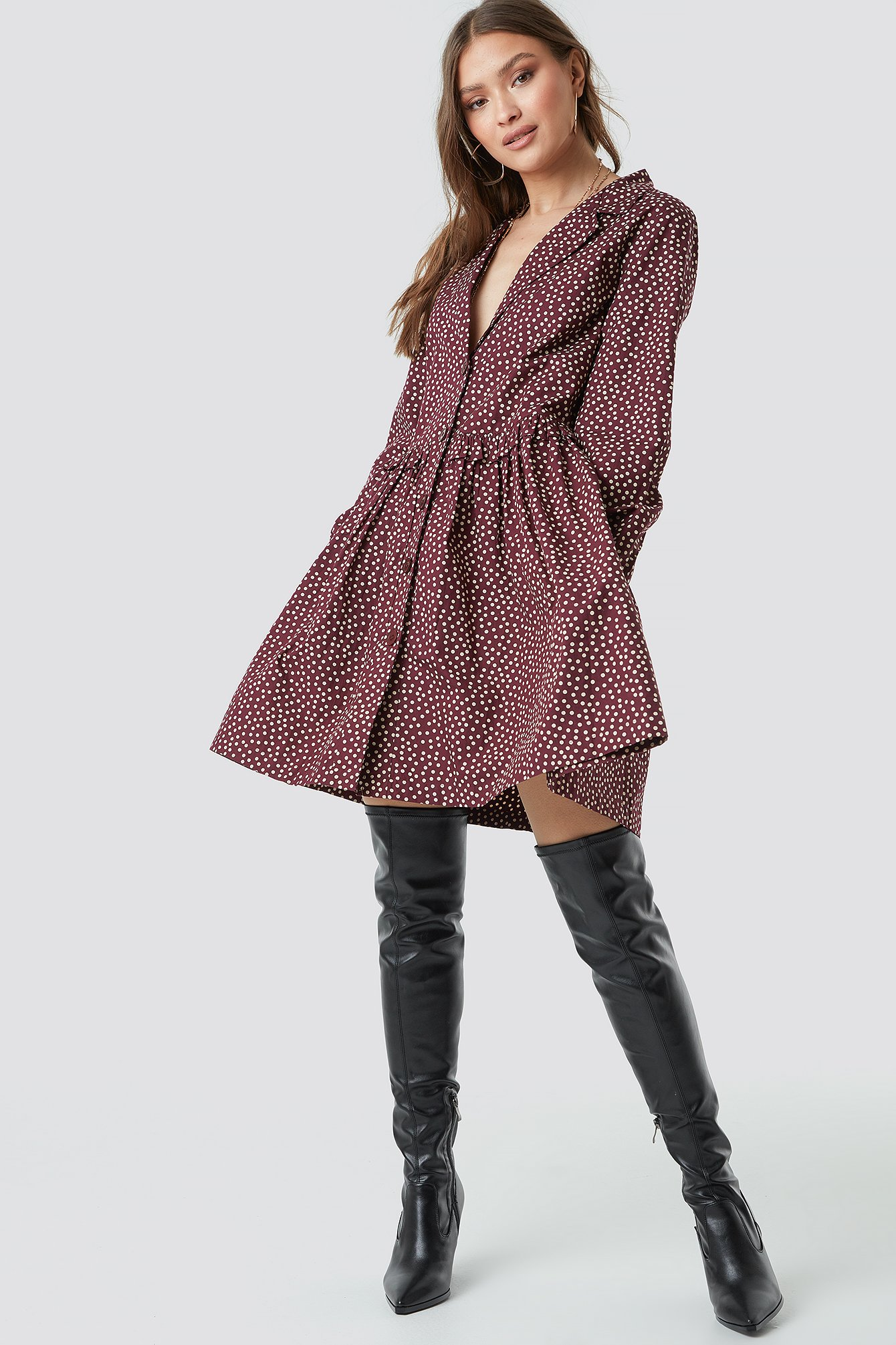 Oversize Ruffle Detail Shirt Dress NA-KD.COM