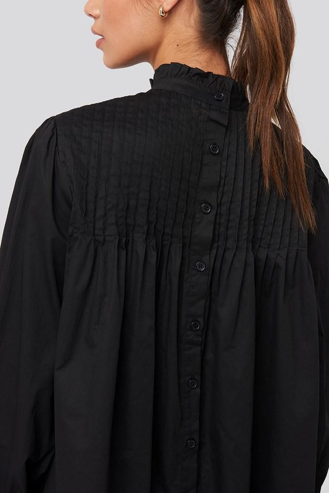 Ruffle Detail Short Dress Black