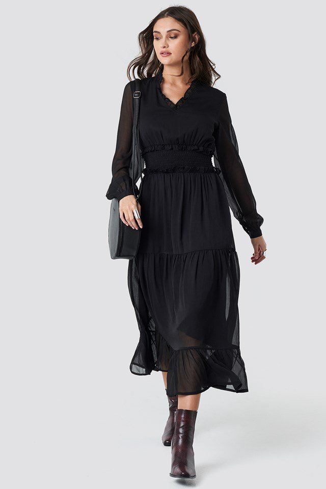 Ruffle Details Flowy Midi Dress Black