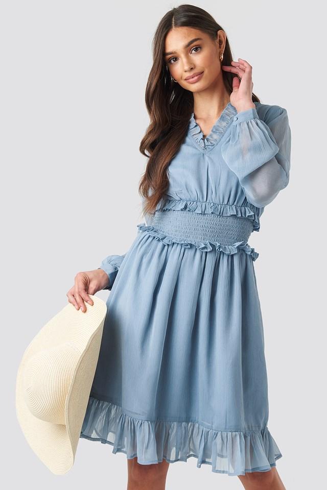 Ruffle Details Flowy Mini Dress Light Blue