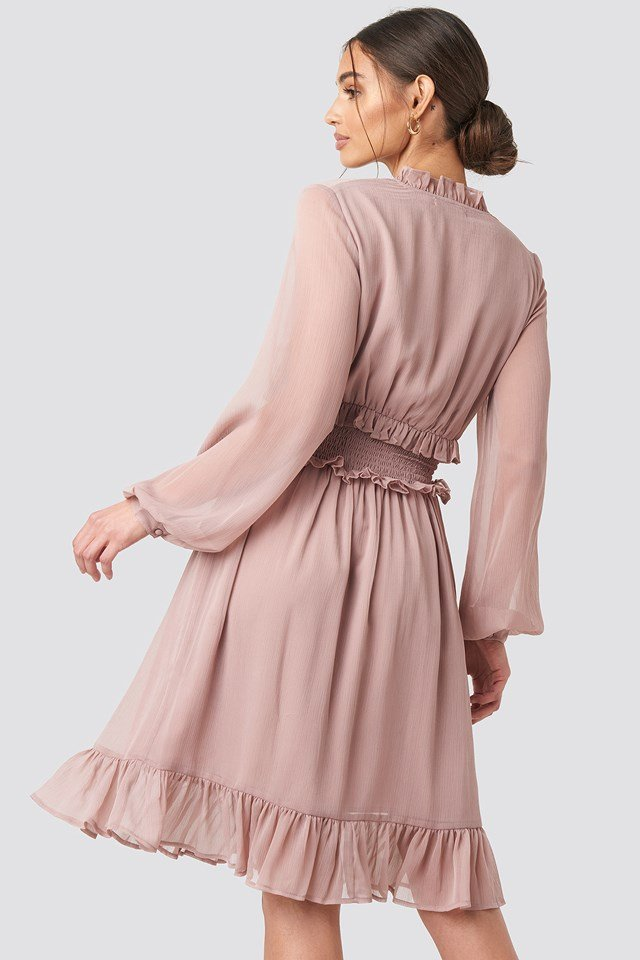 Ruffle Details Flowy Mini Dress Powder Pink