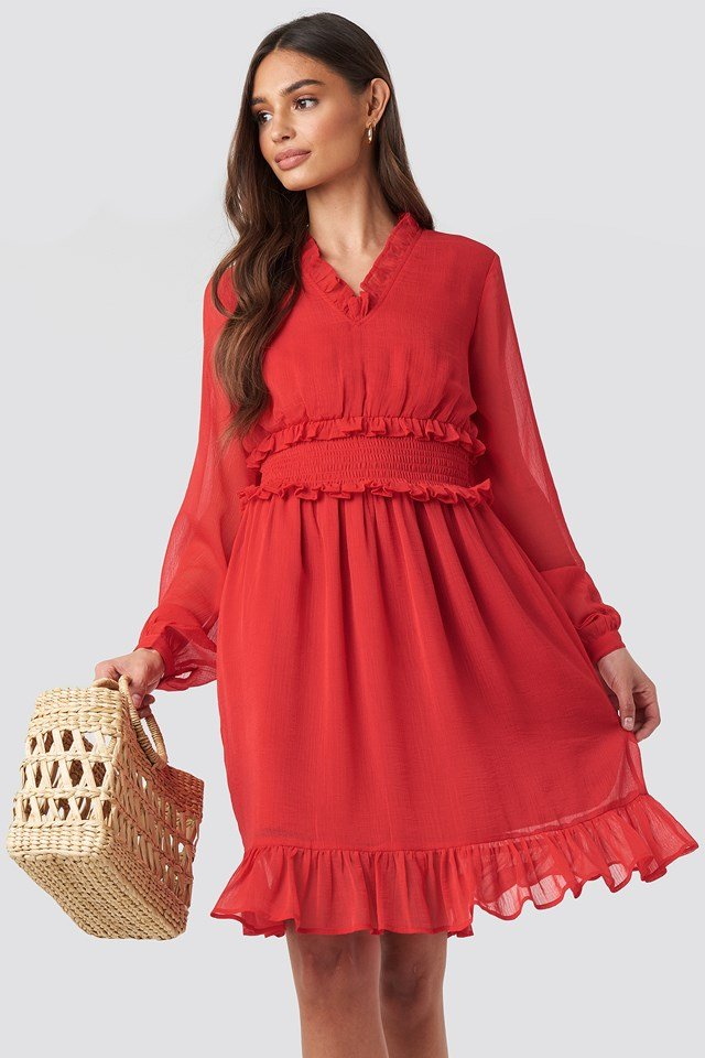Ruffle Details Flowy Mini Dress Red
