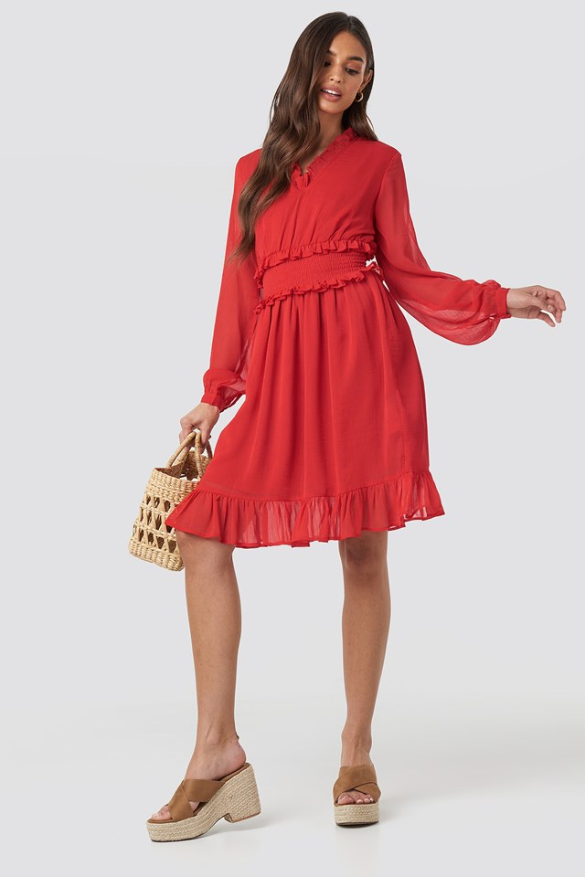 Ruffle Details Flowy Mini Dress Red