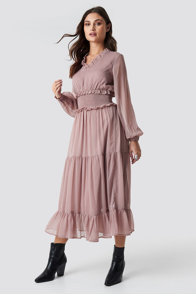 Ruffle Details Flowy Midi Dress Powder Pink