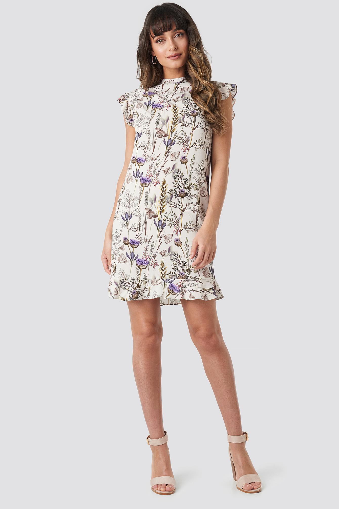 Ruffle Floral Mini Dress NA-KD.COM